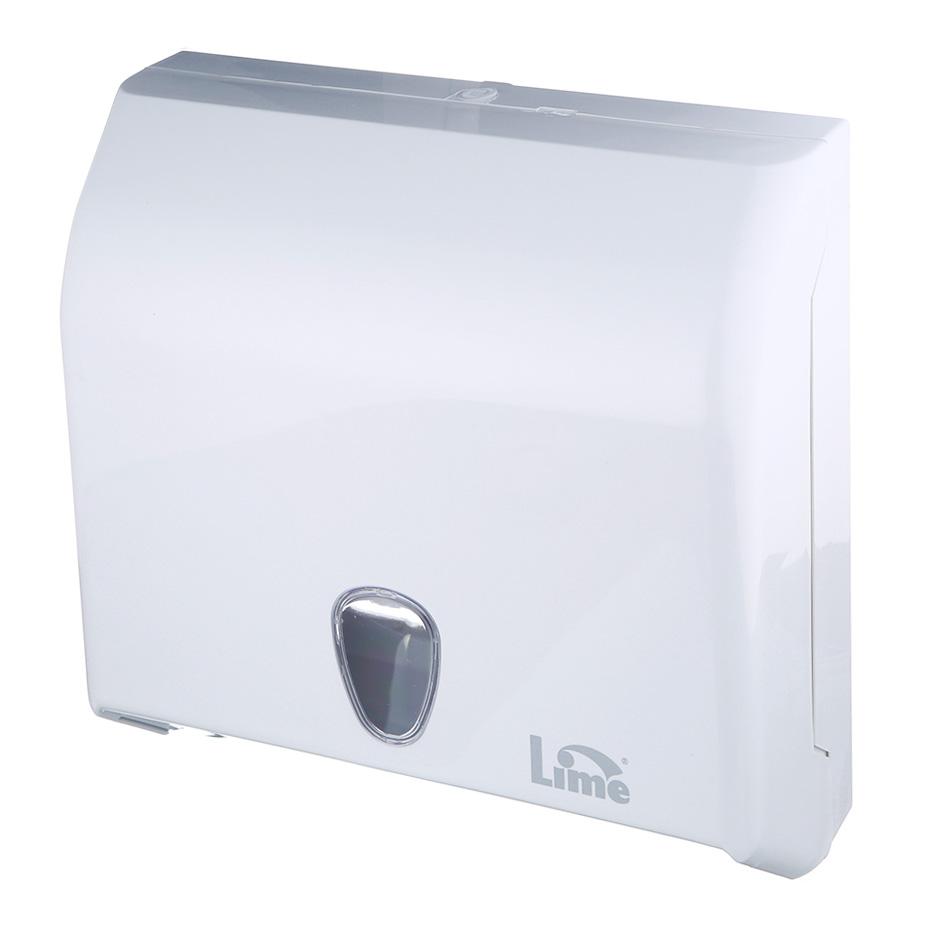 Диспенсер пластиковый для бумажных полотенец Lime, V-слож, белый, формат Mini, 926000