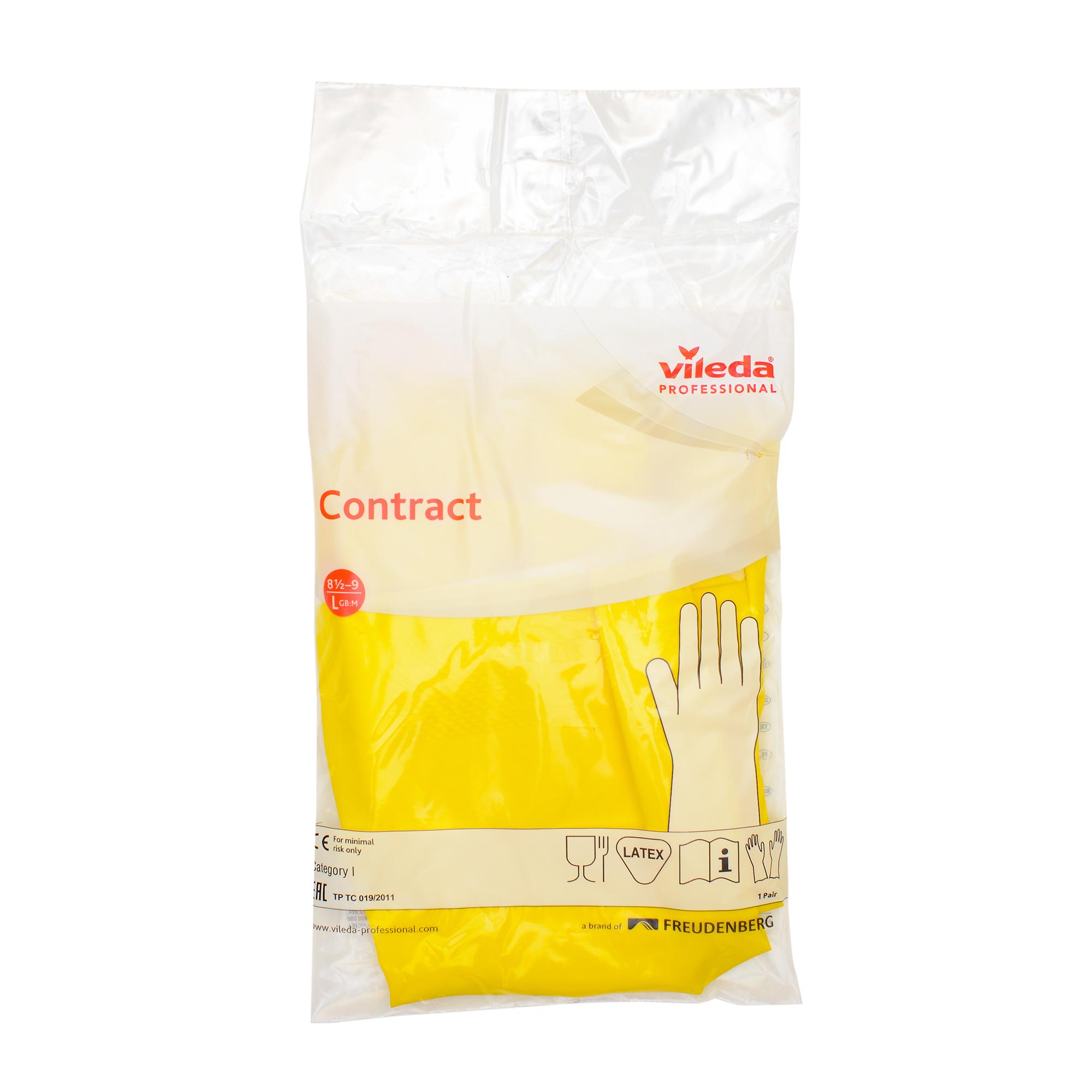 Перчатки резиновые Vileda Контракт, 1 пара, размер L, желтые