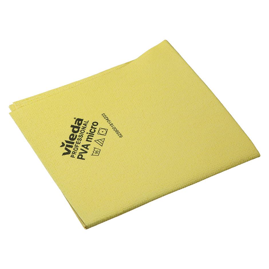 Салфетка Vileda ПВАмикро 35х38см, пропитанная микрофибра, желтая, 143592
