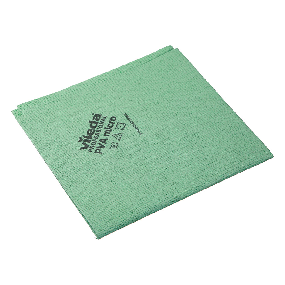 Салфетка Vileda ПВАмикро 35х38см, пропитанная микрофибра, зеленая, 143593