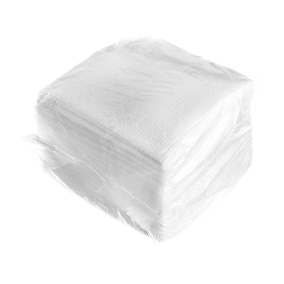 Салфетки бумажные 24х24см, 1-сл, белые, 100шт/уп