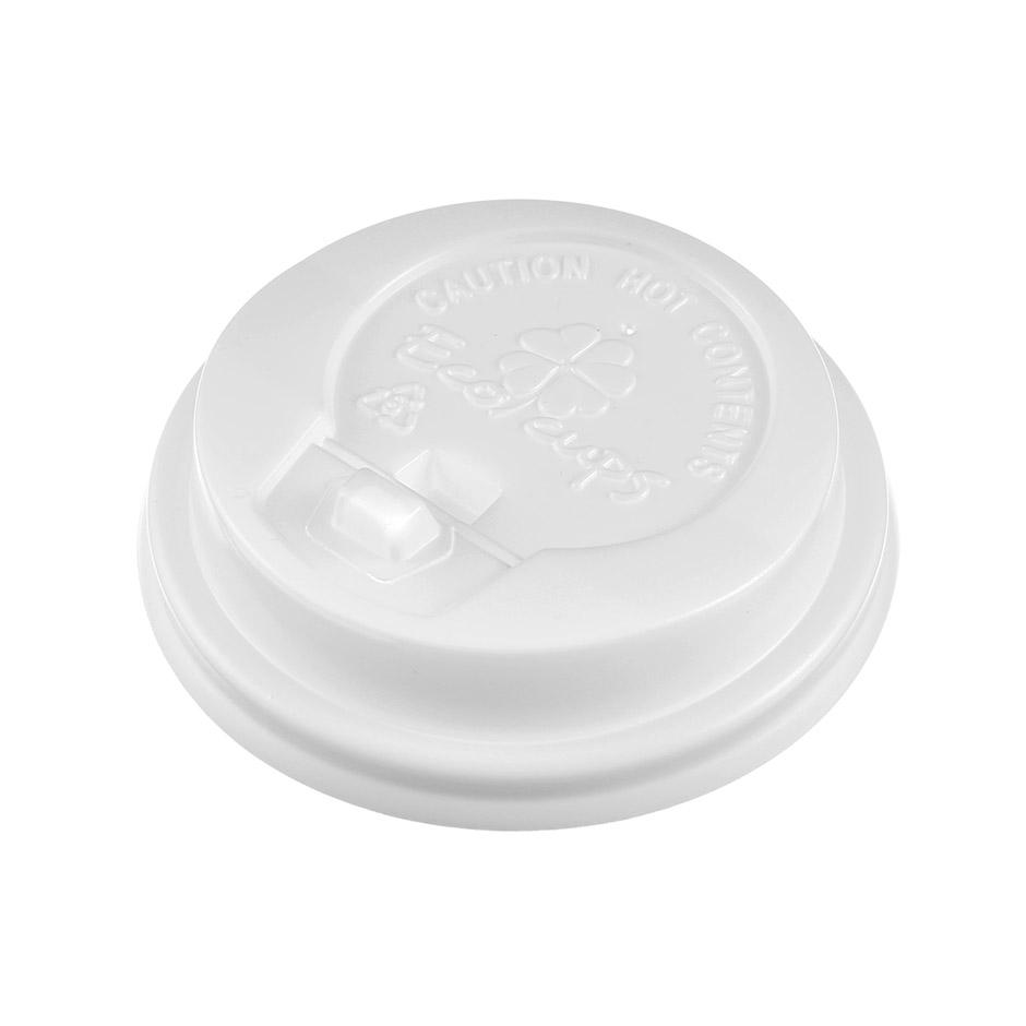 Крышка пластиковая для стакана Ecocups, D80мм, с носиком, белая, 80шт/уп