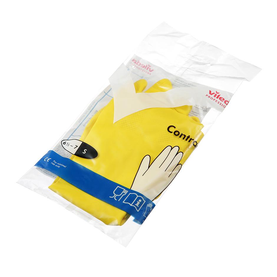 Перчатки резиновые Vileda Контракт, 1 пара, размер S, желтые
