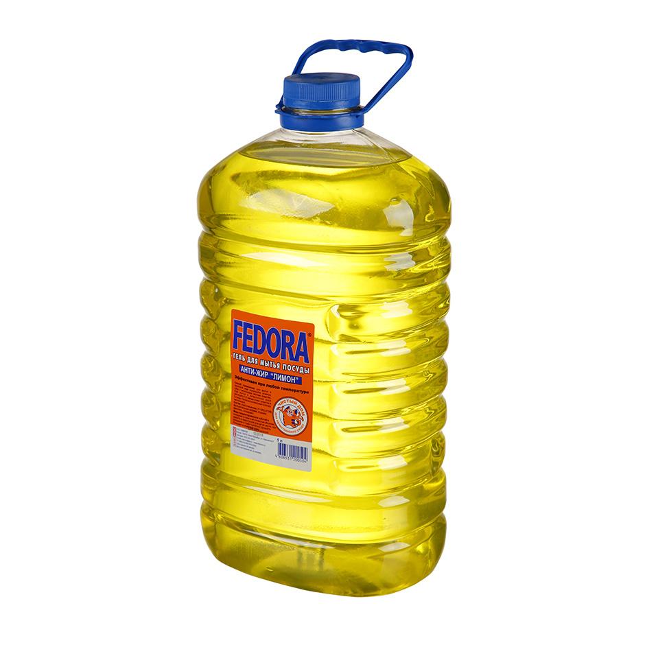Средство моющее для посуды FEDORA Анти-жир, 5л, гель, лимон