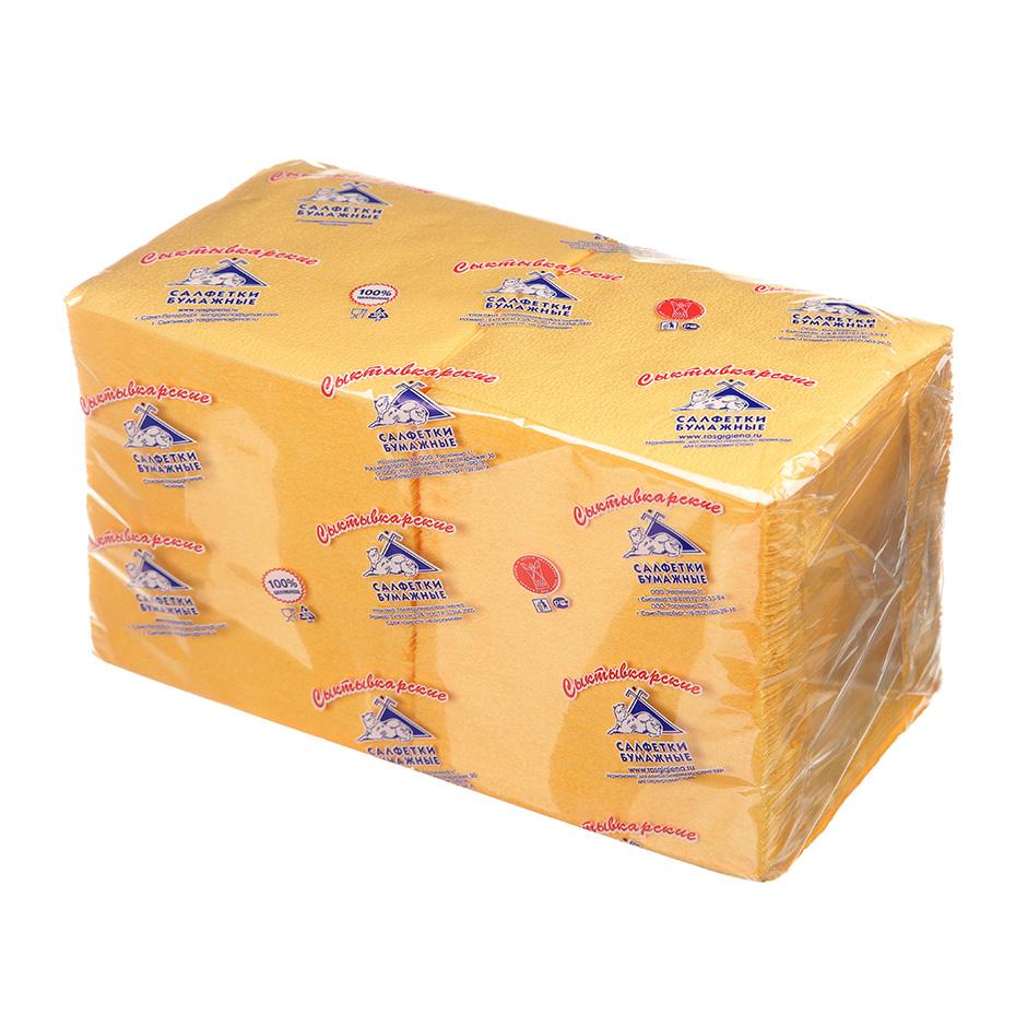 Салфетки бумажные Сыктывкарские Profi Pack 24х24см, 1-сл, желтые, 400шт/уп