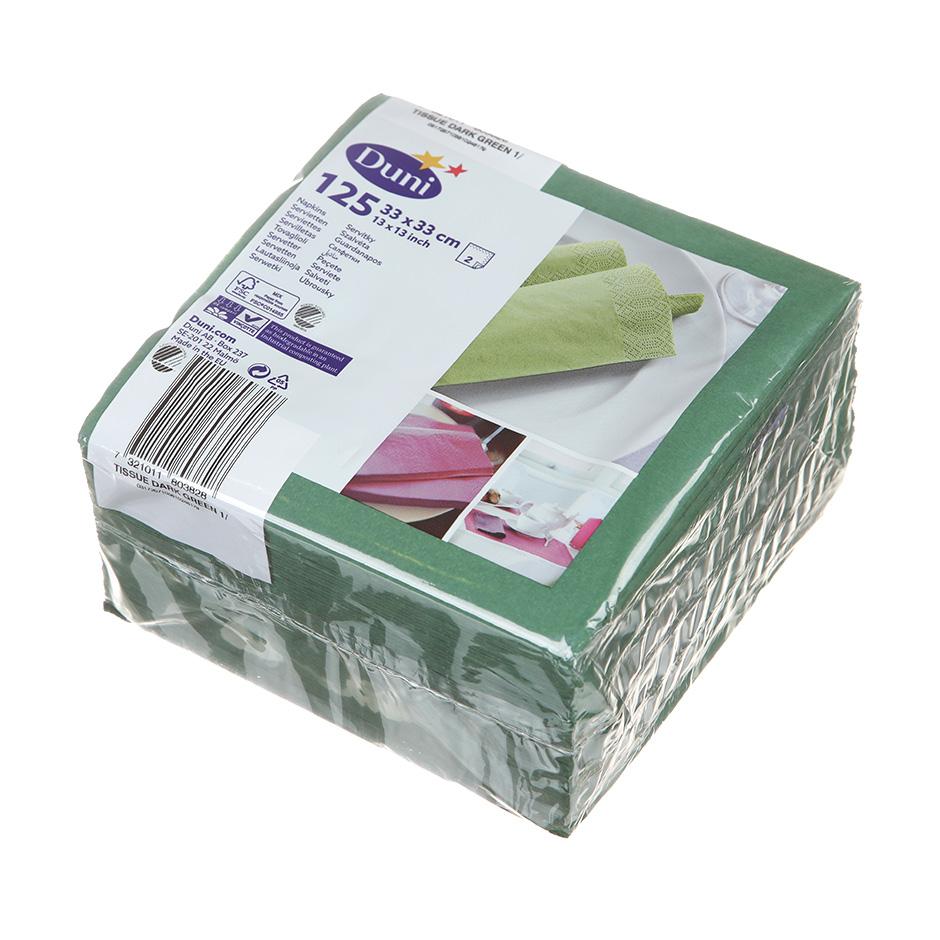 Салфетки бумажные Duni 33х33см, 2-сл, зеленые, 125шт/уп