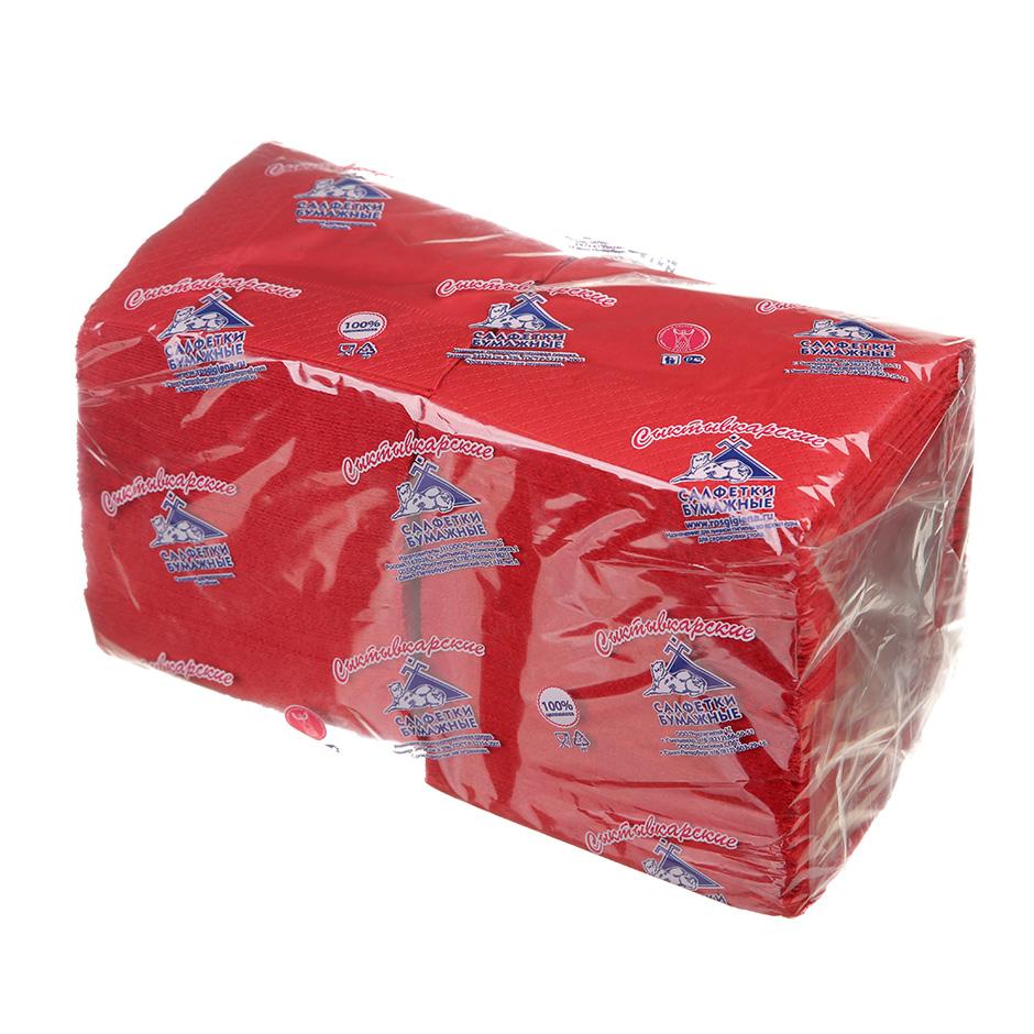 Салфетки бумажные Сыктывкарские Profi Pack 24х24см, 2-сл, красные, 250шт/уп