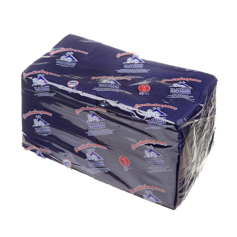 Салфетки бумажные Сыктывкарские Profi Pack 24х24см, 2-сл, синие, 250шт/уп