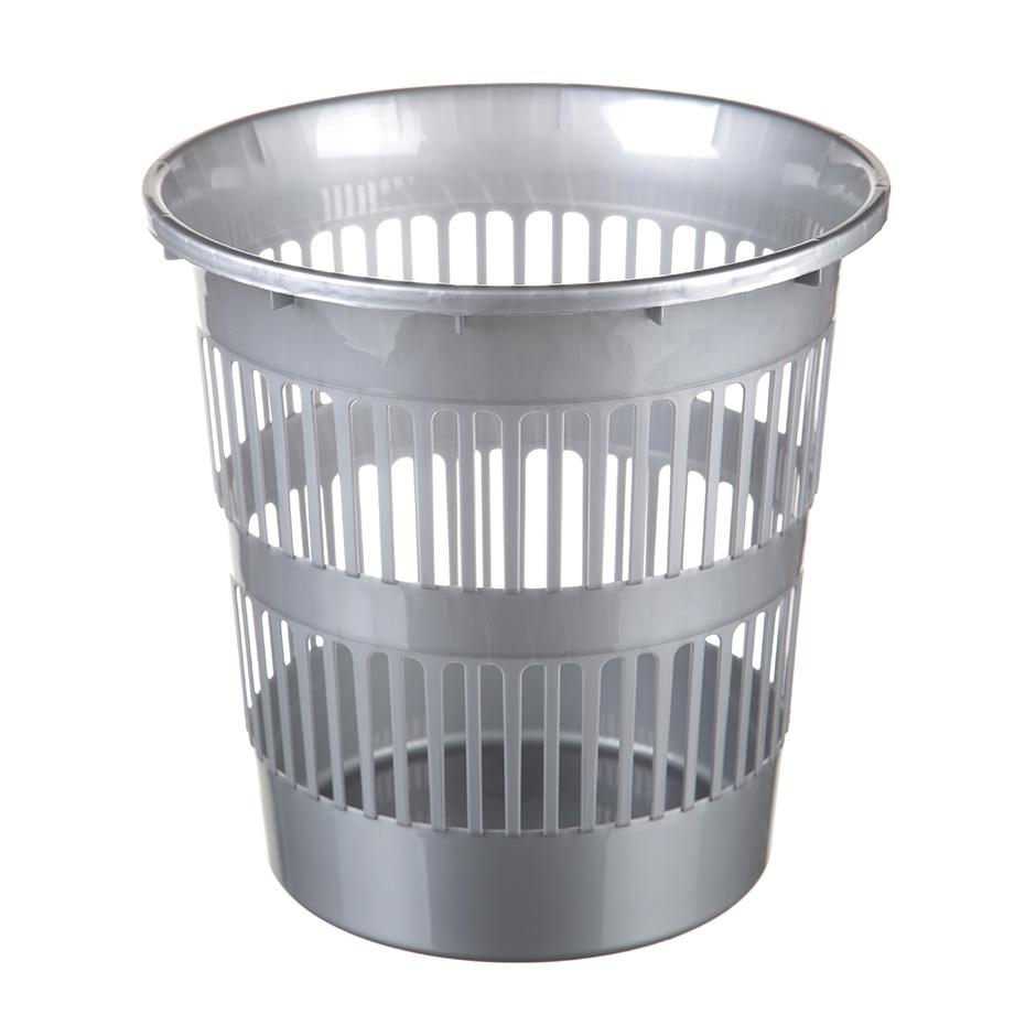 Корзина пластиковая 9л, решетчатая, серая