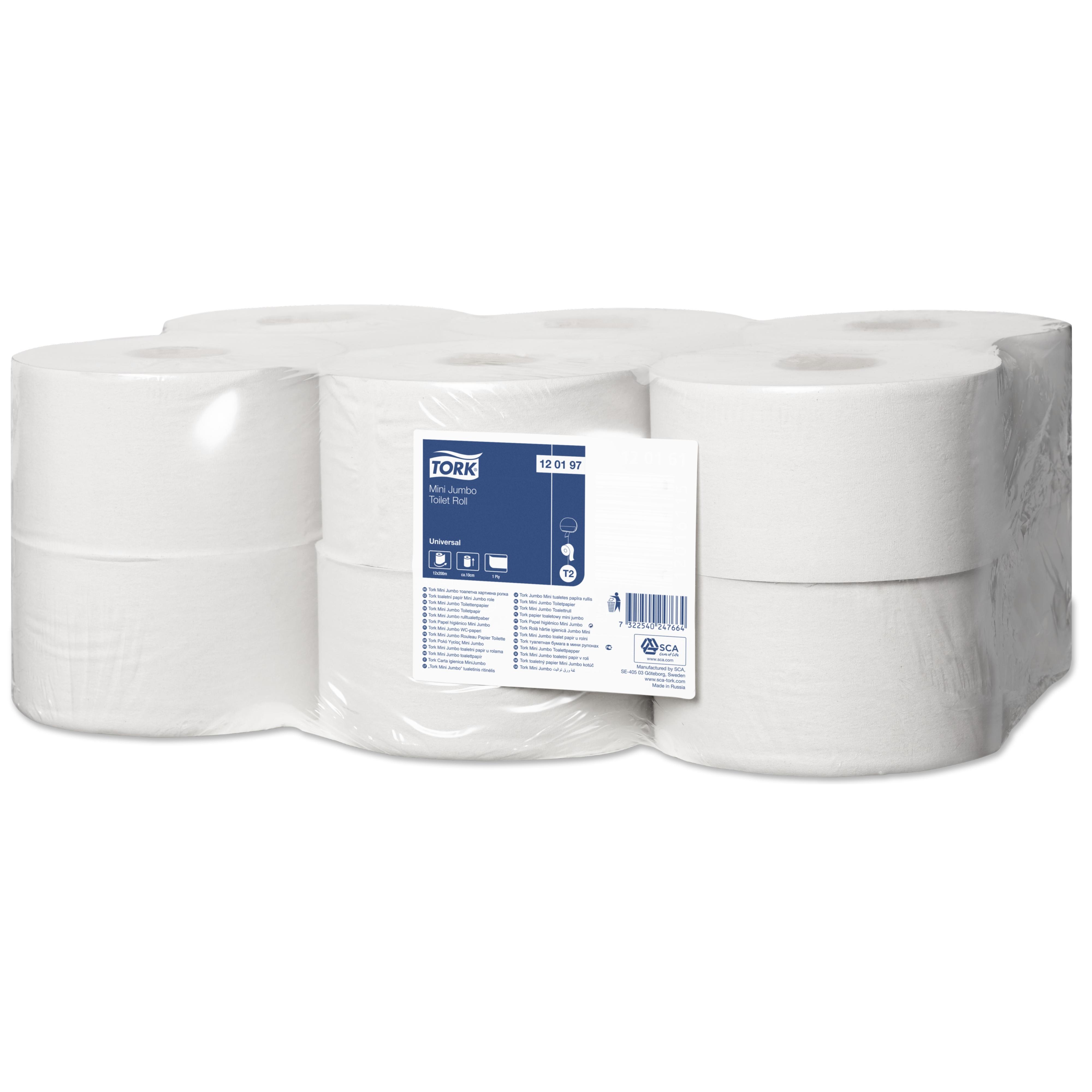 Бумага туалетная Tork Universal Т2 в мини-рулоне, 200м/рул, 1-сл, белая, 12рул/уп, 120197