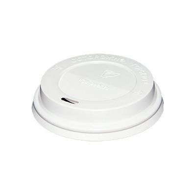 Крышка пластиковая для стакана D90мм, с отверстием, белая, 100шт/уп