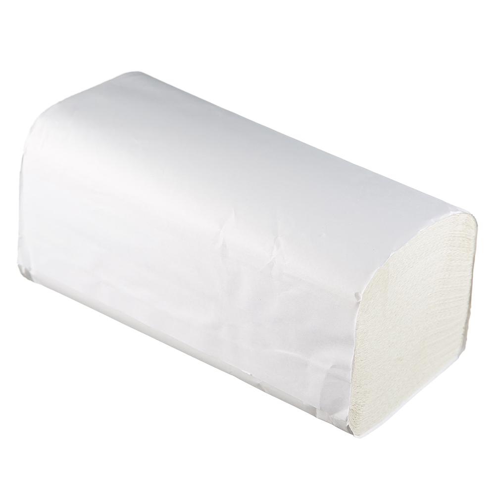 Полотенца бумажные Терес Стандарт листовые, V-слож, 1-сл, белые, 250шт/пач, Т-0225