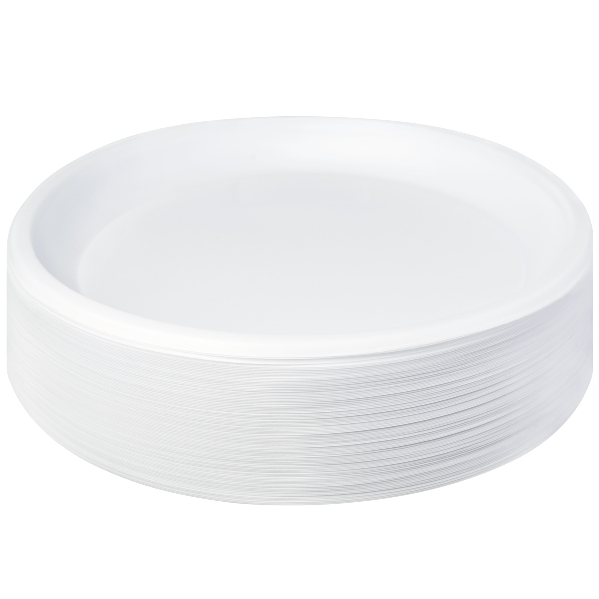 Тарелка пластиковая, D205мм, бессекционная, белая, 50шт/уп