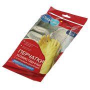Перчатки резиновые Clear Line универсальные, 1 пара, размер L, желтые, с х/б напылением