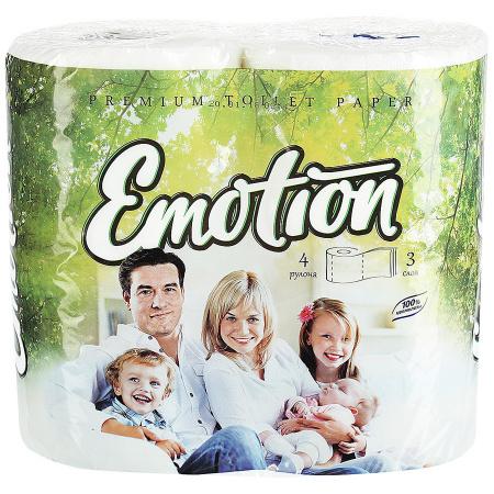 """Бумага туалетная Мягкий знак """"Emotion"""" в рулоне, 20м/рул, 3-сл, белая, 4рул/уп"""