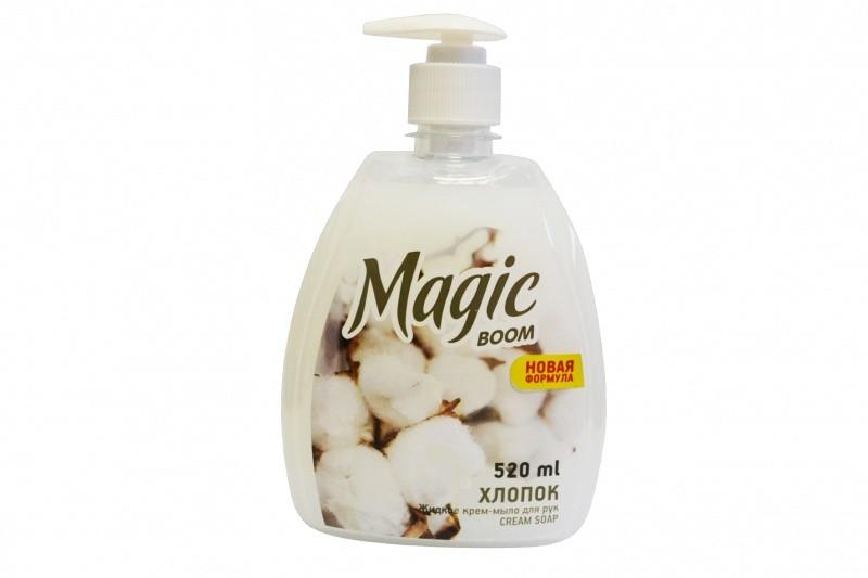 Мыло-крем жидкое для рук Magic Boom, 520мл, хлопок, с дозатором