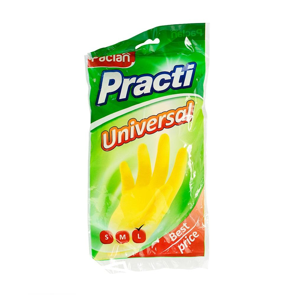 Перчатки резиновые Paclan Practi Universal, 1 пара, размер L, желтые, с х/б напылением
