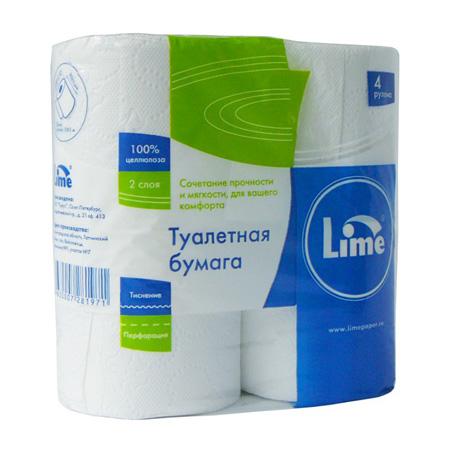 Бумага туалетная Lime в рулоне, 20м/рул, 2-сл, белая, 4рул/уп, 10.20