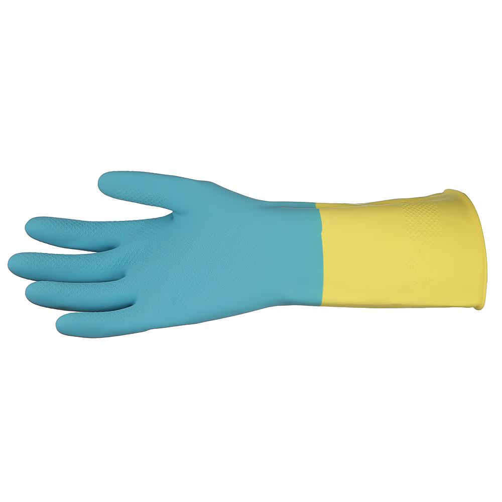 Перчатки резиновые AST Household Gloves Bi-color, 1 пара, размер S, сине-желтые, с х/б напылением - изображение 3