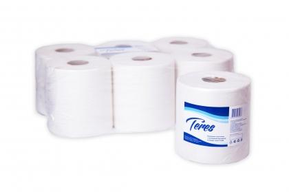 Полотенца бумажные Терес Комфорт Maxi рулонные с центр. вытяжкой, 300м, 1-сл, белые, 6рул/уп, Т-0150