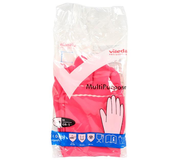 Перчатки резиновые Vileda Многоцелевые, 1 пара, размер M, красные, с х/б напылением, 100750