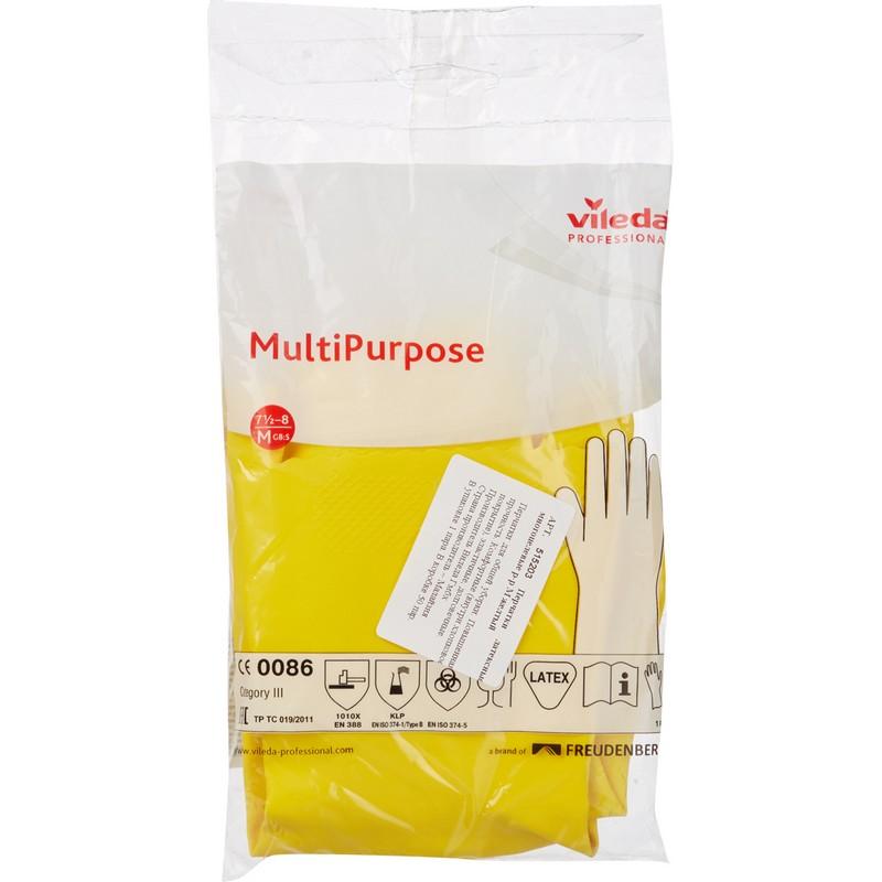 Перчатки резиновые Vileda Многоцелевые, 1 пара, размер M, желтые, с х/б напылением, 100759