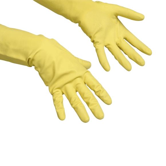 Перчатки резиновые Vileda Многоцелевые, 1 пара, размер L, желтые, с х/б напылением, 100760