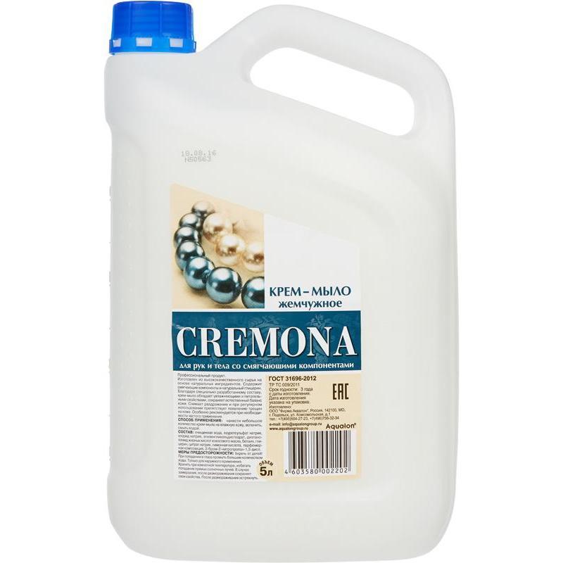 """Мыло-крем жидкое для рук и тела Cremona """"Жемчужное"""", 5л, со смягчающими компонентами, с перламутром"""