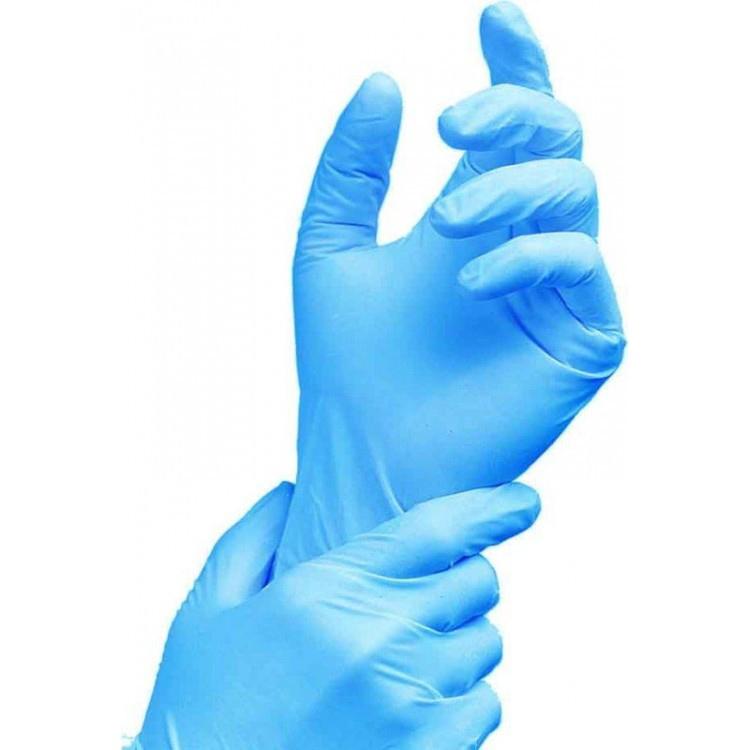 Перчатки нитриловые размер S, неопудренные, голубые, 100шт/уп