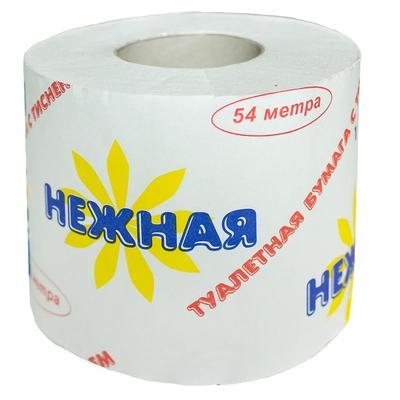 """Бумага туалетная """"Нежная"""" в рулоне, 54м/рул, 1-сл, белая"""