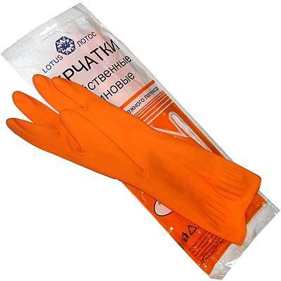 Перчатки резиновые Лотос, 1 пара, размер S, с х/б напылением, цвет в ассортименте