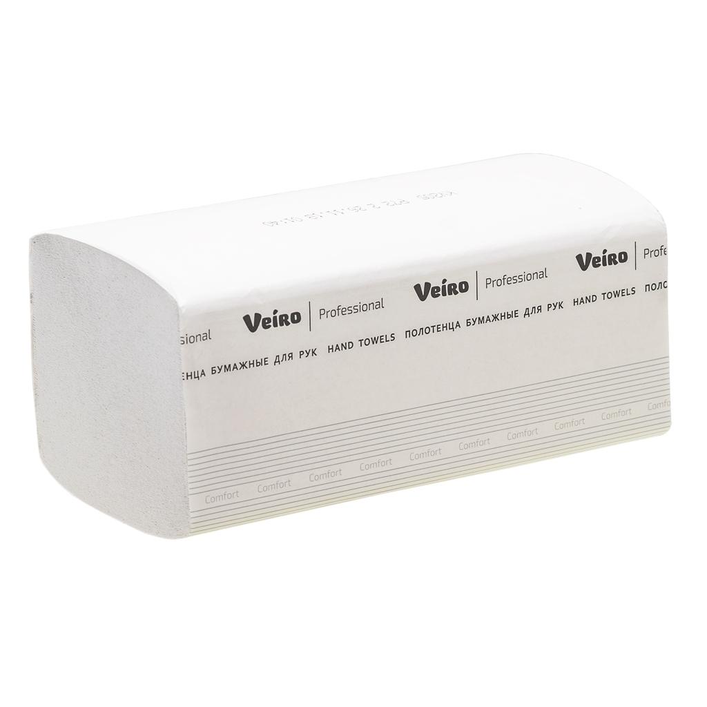 Полотенца бумажные Veiro Professional Comfort лист, V-слож, 2-сл, белые, 200шт/пач, KV205