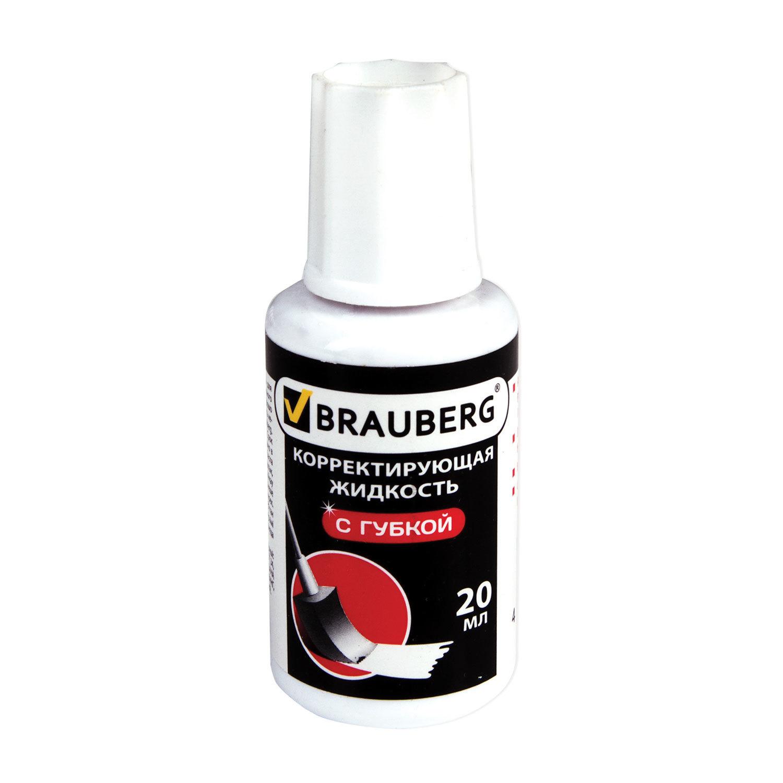 """Жидкость корректирующая BRAUBERG """"Premium"""", 20мл, с губкой, быстросохнущая"""