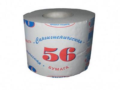 """Бумага туалетная """"Сангигиеническая 56"""" в рулоне, 34м/рул, 1-сл, светло-серая"""