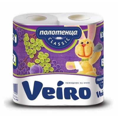 Полотенца бумажные Veiro Classic рулонные, 12,5м, 2-сл, белые, 2рул/уп, 5П22