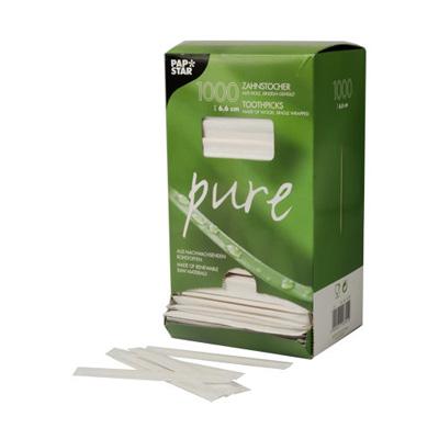 """Зубочистка бамбуковая PAPSTAR """"Pure"""" 66мм, в индивидуальной бумажной упаковке, 1000шт/уп"""