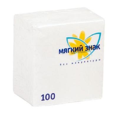 Салфетки бумажные Мягкий знак 24х24см, 1-сл, белые, 100шт/уп