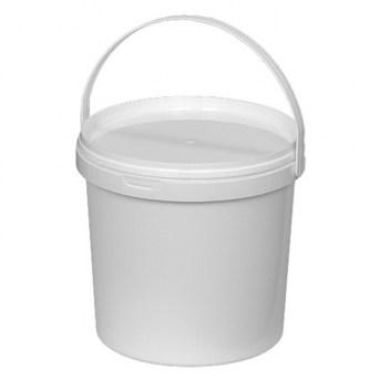 Ведро пластиковое 5л, D23см, H18,8см, пищевое, с крышкой, белое