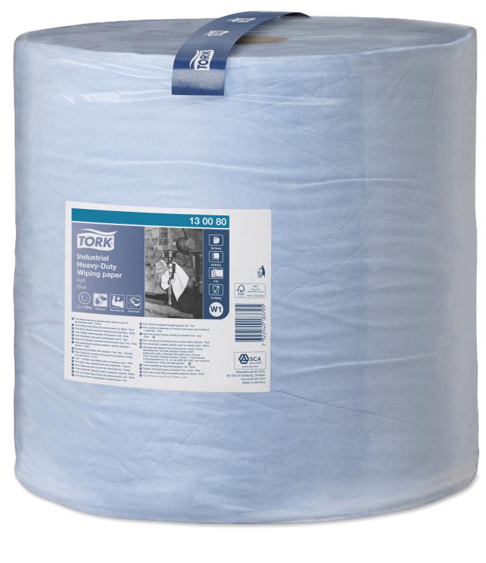 Бумага протирочная Tork Premium W1, повышенной прочности, 255м, 3-сл, голубая, 1рул/уп, 130080