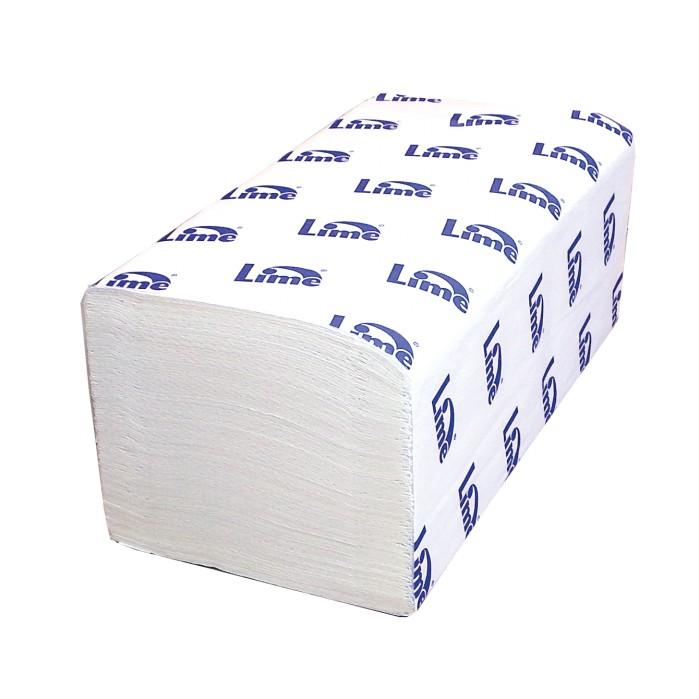Полотенца бумажные Lime листовые, V-слож, 2-сл, белые, 200шт/пач, 220200