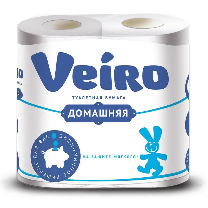 Бумага туалетная Veiro Домашняя в рулоне, 15м/рул, 2-сл, белая, 4рул/уп, 1с24