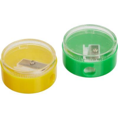 Точилка пластиковая круглая, с контейнером, цвет в ассортименте, 2шт/уп