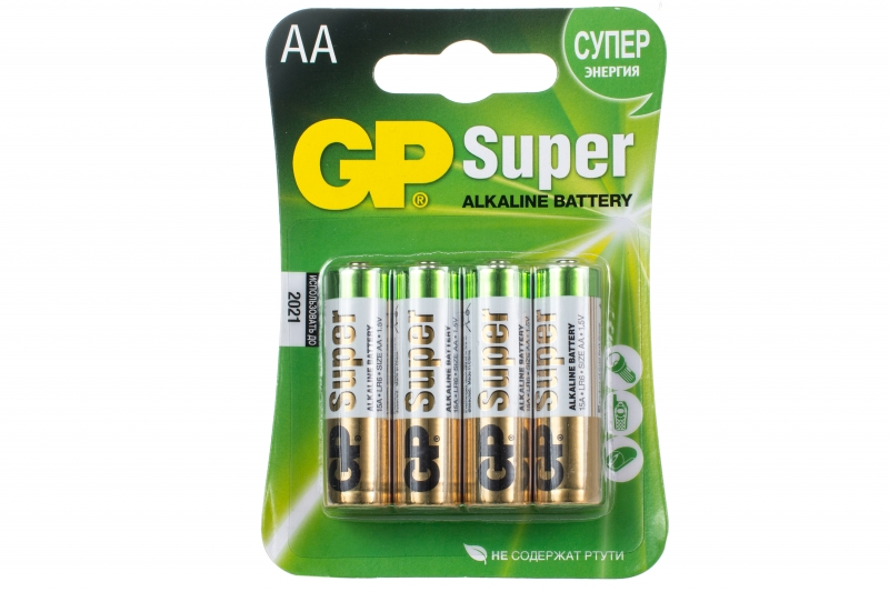 """Батарейки пальчиковые GP """"Super"""" АА/LR6, алкалиновые, 4шт/уп"""