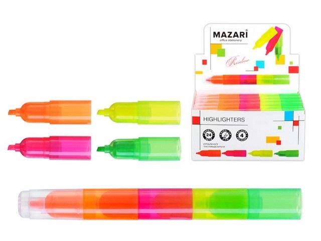 """Текстовыделитель Mazari """"Rainbow"""" составной, 3мм, скошенный наконечник, 4шт/уп, цвета в ассортиментe"""