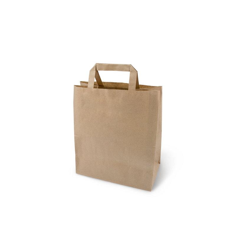 Пакет бумажный 350х150х450мм, крафт, с плоскими ручками, 200шт/уп