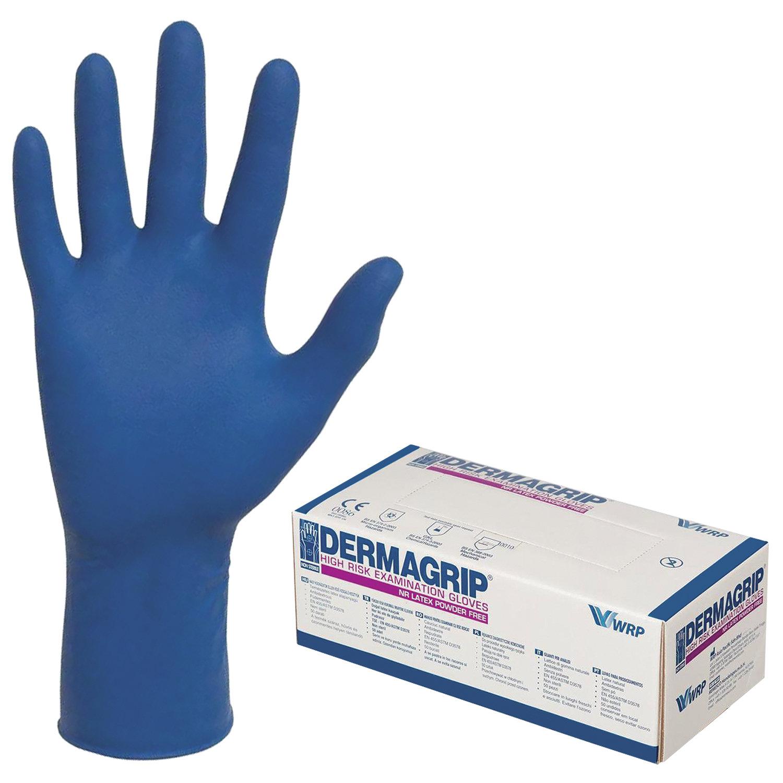 Перчатки латексные Dermagrip High Risk, размер S, неопудренные, синие, 25пар/уп