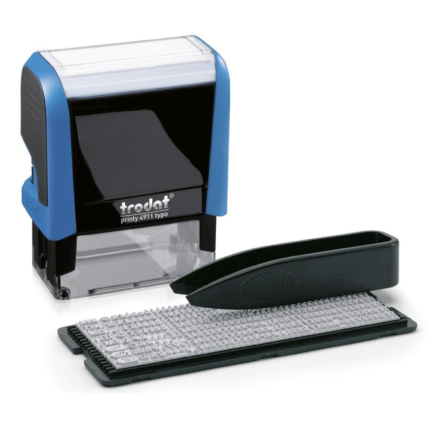 Штамп самонаборный Trodat, синий оттиск 38х14мм, 3-строчный, с кассой, синий корпус, 4911/DB