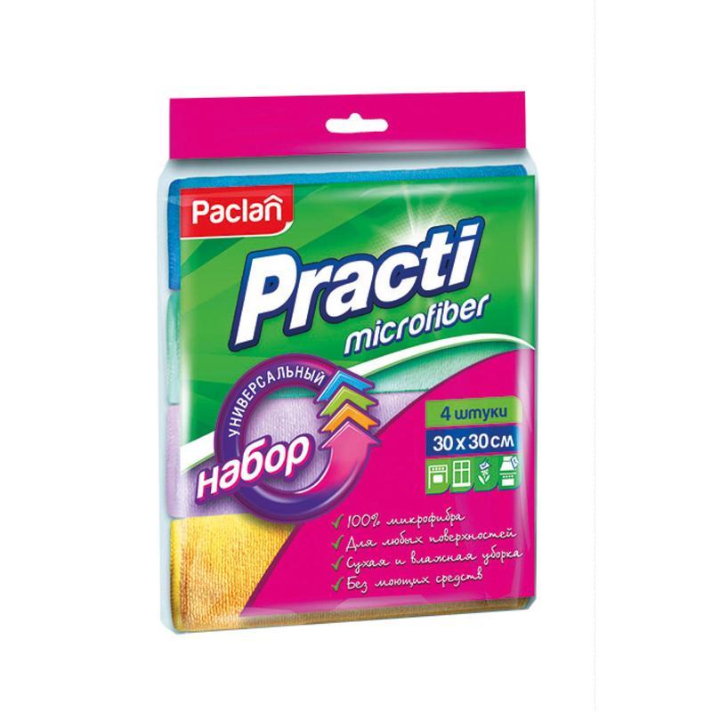 """Салфетка Paclan """"Practi"""" 30х30см, микрофибра, цвет в ассортименте, 4шт/уп"""