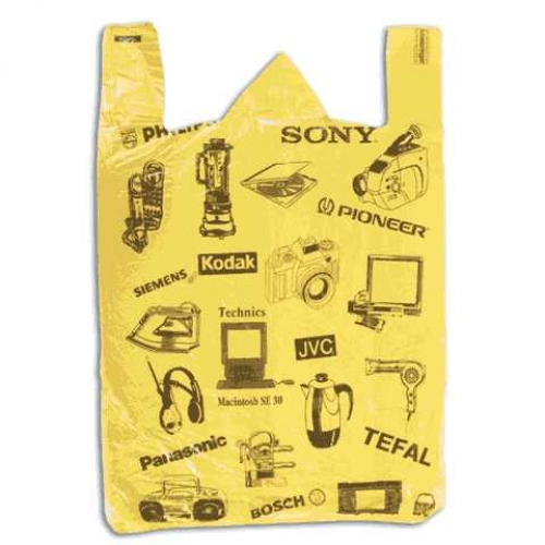 Пакет-майка «Электрон» 44+18×68см, ПНД, 25мкм, желтый, 50шт/уп