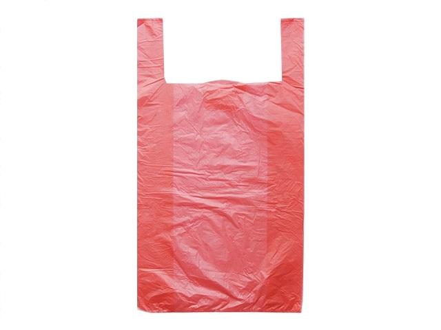 Пакет-майка 24+12х44см, ПНД, 7мкм, красный, 100шт/уп